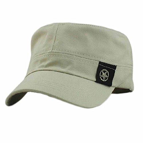 Men Women Washed Cotton Military Caps Outdoor Sunscreen Flat Cap Plain Vintage Army Cap Hat Adjustable Baseball Cap Dad Hat (Gray)