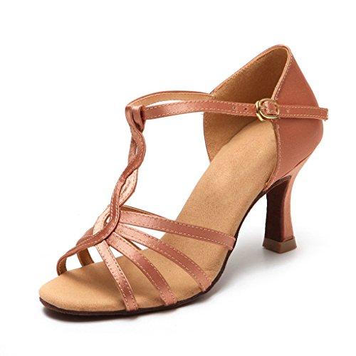 BCLN Womens Open toe Sandals Latin Salsa Tango Heels Practice Ballroom Dance Shoes with 2.75 Heel Tan g9kzlRq7