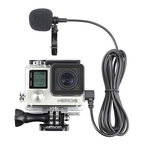 (SOONSUN Skeleton Housing Protective Case with Quick Release Buckle + 6.5ft Lavalier Lapel Clip-on Microphone Mic for GoPro Hero4 Hero 4 3+ Hero3 Camera)