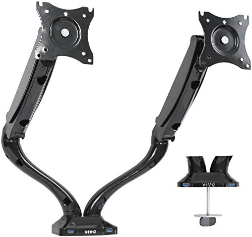 VIVO Black Dual LCD Monitor Height Adjustable Desk Mount Stand, Deluxe Pneumatic and Dual USB 3.0 Ports | Holds 2 Screens up to 27 inches (STAND-V002DU)