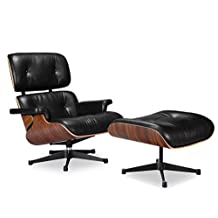 Nicer Furniture ™ Large version Eames Lounge Chair and Ottoman Black 100% Italian Genuine Full Grain Leather with Rosewood/Palisander Wood Finish-Proportional amplification to Original Size