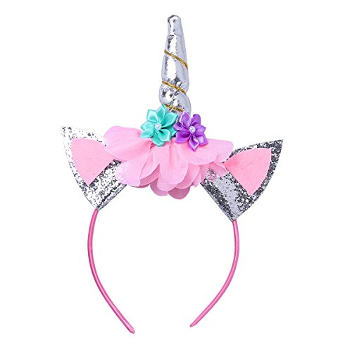 YiZYiF Girls Inspired Mythical Outfit Birthday Tutu Party Dress with Horn Hair Hoop Ballet Costumes Colorful with Train 5-6 by YiZYiF (Image #3)
