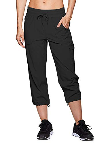 - Women's Active Cargo Lightweight Woven Capri Pant #2033-Black,32