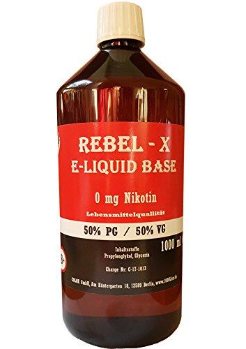 "E Liquid Base 1L 50 PG/50 VG"" Laguna Rebel X"" PUR Vape OHNE Nikotin 0 1000 ml"