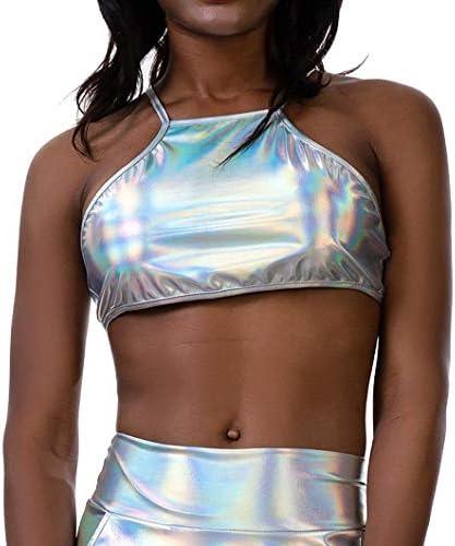 Flyrose Womens Shiny Metallic Strapless Crop Tube Top Rave Bandeau Bra