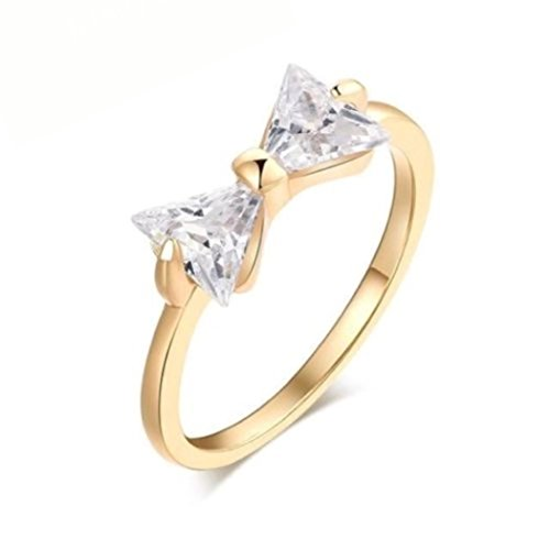(JD Jewls Cubic Zirconia Bow Tie Ring Engagement Ring For Women High Fashion (Gold,)