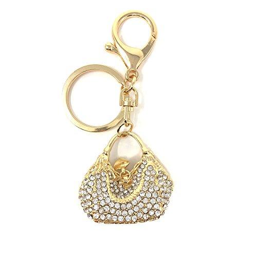 Rhinestone Keychain Purse Charm, Crystal Handbag Accessory w/Key Ring, By Bling Car Decor