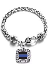 Blue Line Law Enforcement Support Classic Silver Plated Square Crystal Charm Bracelet