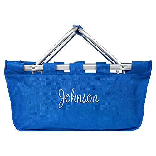 Personalized Large Collapsible Market Tote Baskets with Aluminum Frame (Light Royal -