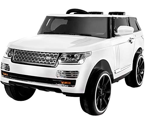 KidOne Range Rover Style 12-Volt MP3 Electric Battery Powered Ride On Kids Boys Girls Toy Car RC Parental Remote LED Lights Music -White ()
