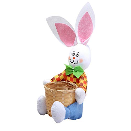 Bunny Easter Basket Eggs Candy Gifts-Wreath Scarecrow Rabbit Pendant Wall Door Hanging Ornament Home Decoration-Fabric Straw Materials Toy Props-Double Bunny Easter Pendant Easter Doll (Blue 篮子)