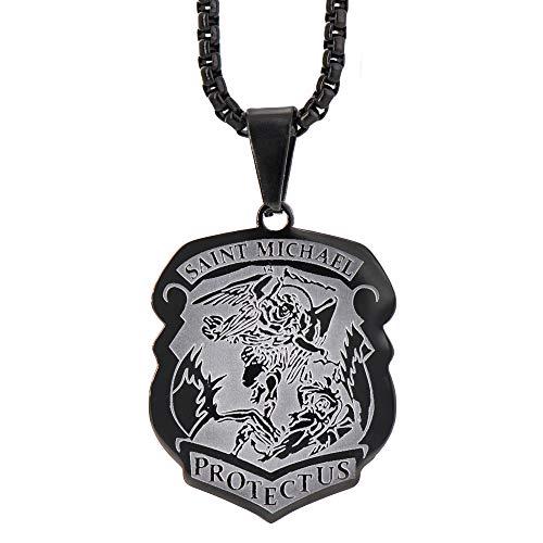 Apopo Stainless Steel Shield Saint Michael Pendant Archangel Chain Badge Necklace Black Jewelry for Men&Women ()