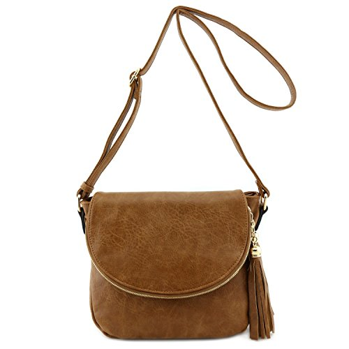 Tassel Accent Crossbody Bag With Flap Top  Light Brown