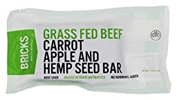 Bricks Grass Fed Beef, Carrot, Apple, & Hemp Seed Bar 1 oz (12 Pack)