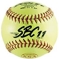 Dudley ASA SBC de cuero de 11 pulgadas de Softbol de lanzamiento rápido amarillo, .47 /375 libras, punto rojo (paquete de 12) 1 docena