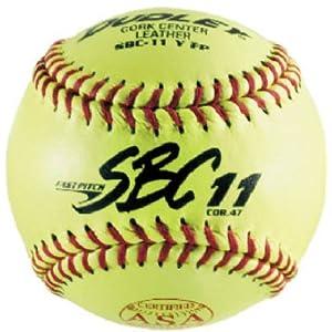 Dudley ASA SBC Leather11-Inch Yellow Fast Pitch Softball, .47/375-Pounds, Red Stitch ( Pack of 12)1 Dozen