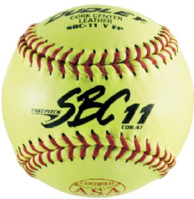 Dudley ASA SBC Leather11-Inch Yellow Fast Pitch Softball, .47/375-Pounds, Red Stitch ( Pack of 12)1 Dozen by Dudley