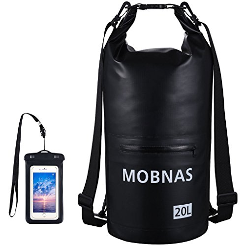 MOBNAS Waterproof Dry Bags Kayak with IPX8 Phone Case, Outdoor Dry Bag Sack Backpack with Zip Pocket Shoulder Strap for Kayaking Rafting Hiking Snowboarding Camping Fishing Beach Canoe Boat-Black, 20L
