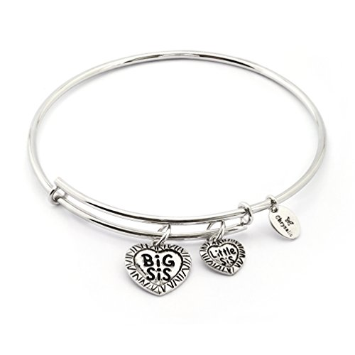 [Silver Rhodium Plated Thinking of You Big Sis Little Sis Charm Expandable Bangle Bracelet] (Big Sister Little Sister Costumes)
