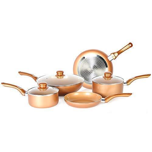 7 Pcs Copper Coated Non stick Cookware Set Induction Compatible Ceramic Copper Pots and Pans Cookware set Includes Frying Pan Saucepan Wok Detachable Handle Vented Glass Lid