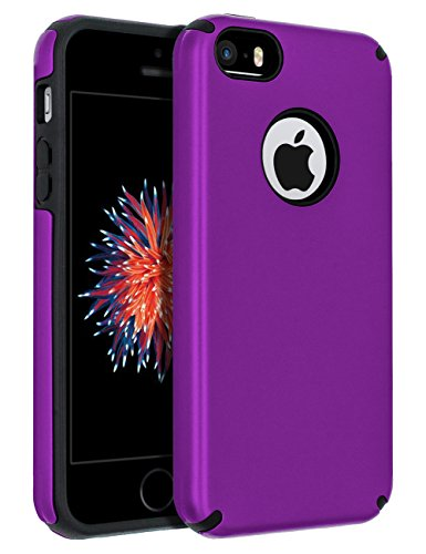 iPhone 5S Case,iPhone SE Case,iPhone 5 Case,SENON Slim-fit Shockproof Anti-Scratch Anti-Fingerprint Protective Case Cover for Apple iPhone SE,Purple