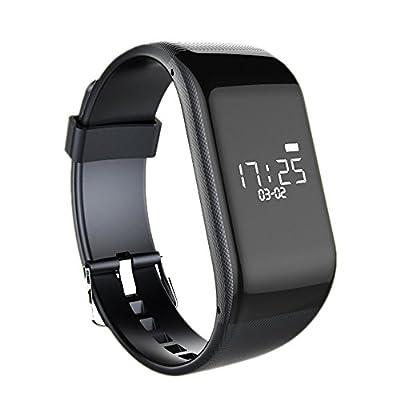 VISKYE Dynamic Heart Rate Monitor Bracelet Pedometer Sleep Monitor Calories Fitness Tracker (Black)