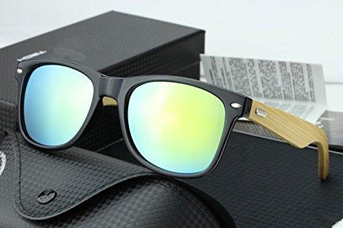 Uni Bamboo Wood Mirrored Wayfarer Sunglasses - - Wooden Ban Ray