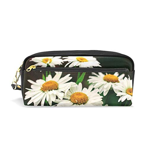 Pencil Case Stylish Print Flowers Garden June Mountains Nature Green Art Pattern Large Capacity Pen Bag Makeup Pouch Durable Students Stationery Two Pockets with Double ()