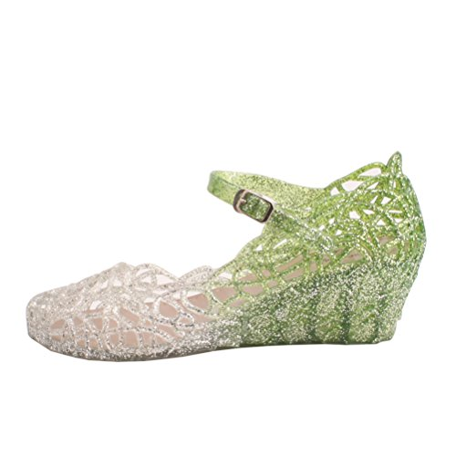 Green Jelly Sandals (OMGard Womens Summer Wedge Glitter High Heels Hollow Jelly Shoes Sandals Ankle Strap Platform Color Green Size 8.5)