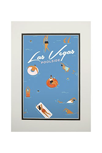 - Las Vegas, Nevada - Aerial Pool Scene (11x14 Double-Matted Art Print, Wall Decor Ready to Frame)
