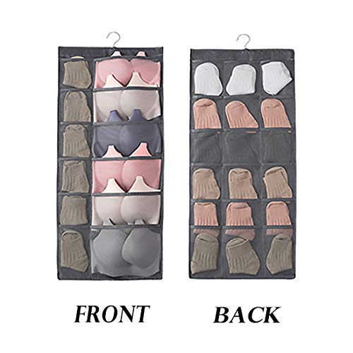 (Geqian1982 Dual-Sided Hanging Closet Organizer with 30 Pocket for Underwear Stocking Toiletries Accessories Bra Dresser Panty Socks Drawers Home)