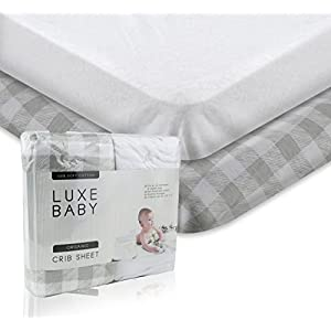 Luxury Fitted Crib Sheet Set. Luxe Baby Crib Sheets Girl and Boy. Exclusive Design Crib Sheets in Ultra Soft Cotton, Crib Sheets Set Fits All Baby Crib Standard Mattresses