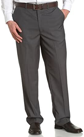 Louis Raphael ROSSO Men's Poly Viscose Super 150S Luxe Twill Hidden Extension Flat Front Dress Pant,Grey,34x29