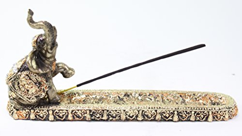 Gold Elephant Buddha Wraps Incense Burner Holder Lucky Figur