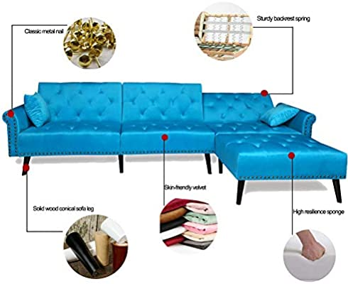 Enjoyable Seaphy Modern Large Velvet Fabric Sectional Sofa L Shaped Corner Couch Sofa Bed Set With Reversible Chaise Lounge For Living Room 2 Pillows Included Caraccident5 Cool Chair Designs And Ideas Caraccident5Info