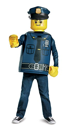 Lego Minifigure Halloween Costume (LEGO Police Officer Classic Costume, Blue, Small (4-6))