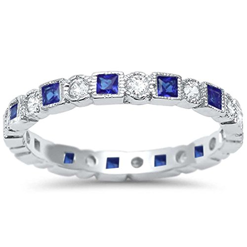2.5mm Bezel Set Full Eternity Ring Alternating Round Simulated Blue Sapphire Cubic Zirconia 925 Sterling Silver, Size - 6