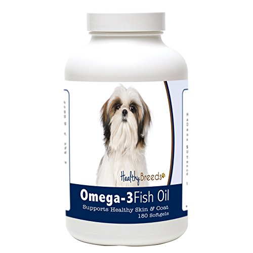 Healthy Breeds Omega 3 Dog Skin and Coat Supplement for Shih Tzu – Over 200 Breeds – Clean Source EPA DHA – Help Dry Itchy Skin – 180 Count