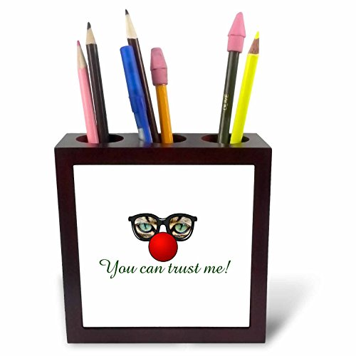 3dRose Sven Herkenrath Quotes - You Can Trust Me Funny Cat Sunglasses Animal Quotes - 5 inch tile pen holder - Quotes Sunglasses