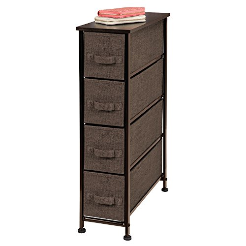 mDesign Narrow Vertical Dresser Storage Tower - Sturdy Steel Frame, Wood Top, Easy Pull Fabric Bins - Organizer Unit for Bedroom, Hallway, Entryway, Closet - Textured Print, 4 Drawers - Espresso Brown