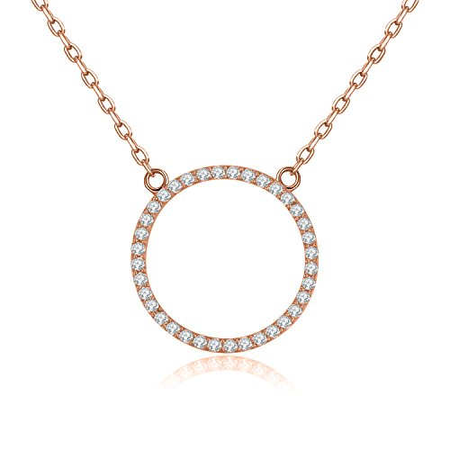 - 925 Sterling Silver Adjustable Chain Hollow Out Circle Pendant Necklace with AAA+ Cubic Zirconia for Women MetJakt Gorgeous Jewelry 16,17,18'' (Rose Gold Plated Sterling Silver)