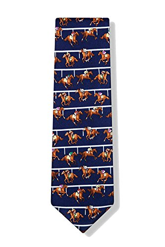 Men's 100% Silk Blue Horse racing At the