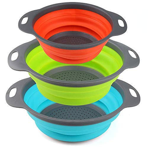 Collapsible Colander Set by Payanwin,3 Round Silicone Kitchen Strainer Set for Draining Pasta, Vegetable and fruit- 2 pcs 4 Quart and 1 pcs 2 Quart(Orange,Green,Blue) (Color1) ()