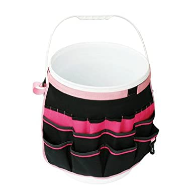 Apollo Precision Tools DT0825P Garden Tool Organizer, Black/Pink, 5-Gallon Bucket , Donation Made to Breast Cancer Research