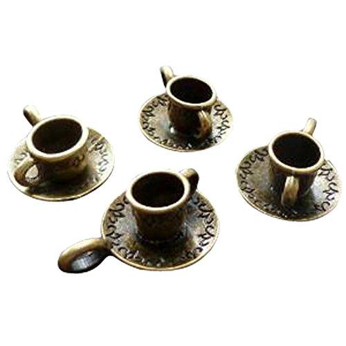 4 Pcs Alice in Wonderland Steampunk Antique Bronze Brass Tibetan Tea Cup Jewelry Findings Mix Lot 58