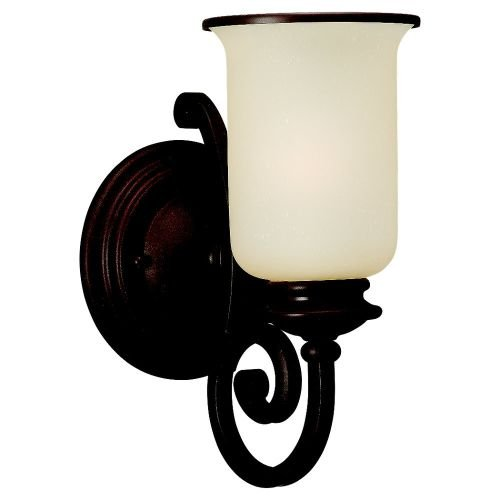 Sea Gull Lighting 41145-814 Acadia One-Light Wall Sconce, Misted Bronze Finish with Champagne Seeded Glass (Fixture 1 Light Acadia Wall)