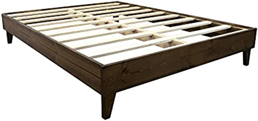 Platform Bed Frame - Made in the USA w/ 100% North American Pine | No Tool Assembly | Solid Wood Mattress Foundation w/ 7-Layer Pressed Pine Slats Included