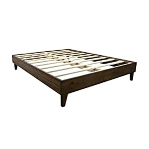 Platform Bed Frame - Made in the USA w/ 100% North American Pine Wood - Solid Mattress Foundation w/Pressed Pine Slats - Tool-Free Assembly - Queen