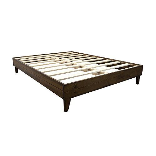 eLuxurySupply Platform Bed Frame - Made in the USA w/100% North American Pine Wood - Solid Mattress Foundation w/Pressed Pine Slats - Tool-Free Assembly - Queen