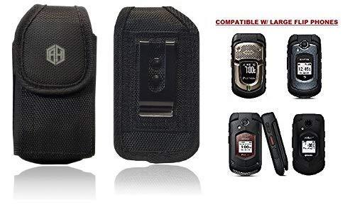 Reiko Vertical Canvas Case, Rugged Pouch Holster Metal Clip Flip Phone Belt Case Fits Kyocera Cadence LTE, Dura XTP, Dura XV E4520 Case, Dura XV Plus, Dura XE, Convoy 4, Most Large FLIP Phone (Verizon Flip Phone Holster)